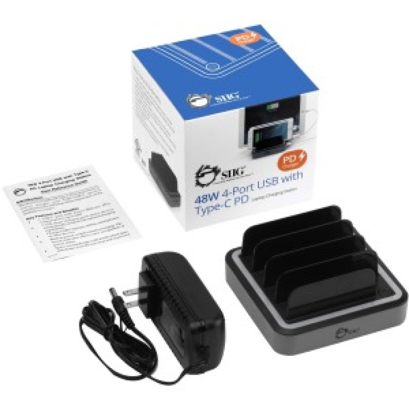 SIIG 48W 4-Port USB with Type-C PD Laptop Charging Station