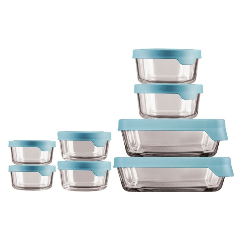 Anchor Hocking Trueseal Food Storage with Mineral Blue Lids, 16 Piece Set