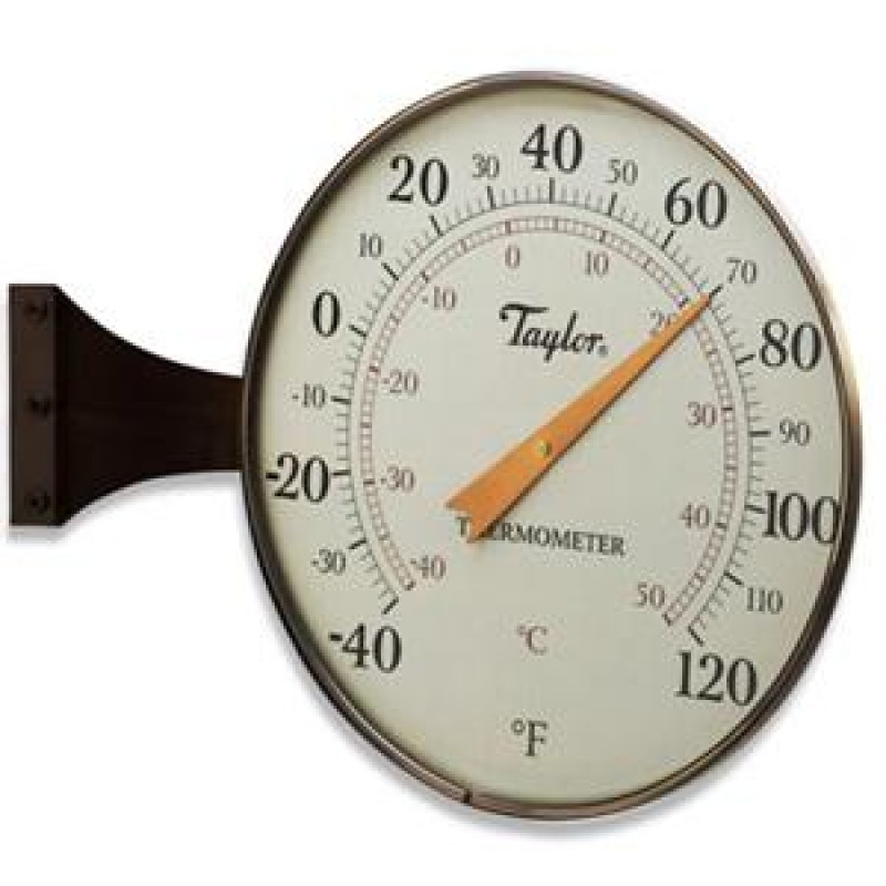 """Taylor Heritage Collection 8.5"""" Dial Thermometer-Bronze"""