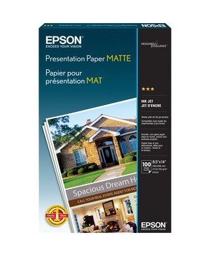 Epson - Open Printers And Ink 100 SHEET 8.5 X 14 LEGAL PHOTO QUALITY PAPER UP TO 1440DPI