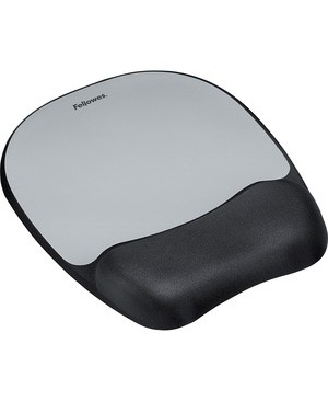 Fellowes MEMORY FOAM SILVER MOUSE PAD WRIST REST NON SKID BACKING