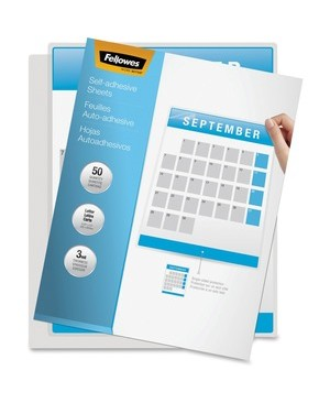 Fellowes SELF ADHESIVE LAMINATING SHEETS LETTER 3MIL 50PK