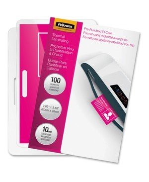 Fellowes GLOSSY POUCHES ID TAG PUNCHED 10 MIL 100PK