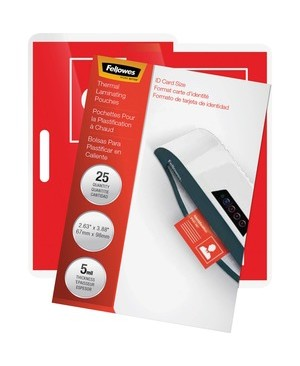 Fellowes GLOSSY POUCHES ID TAG NOT PUNCHED 5 MIL 25PK