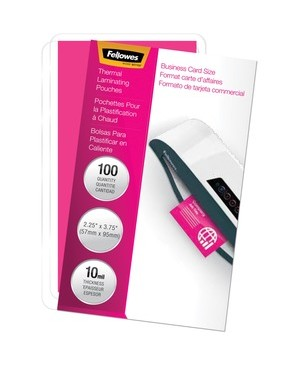 Fellowes GLOSSY POUCHES BUSINESS CARD 10 MIL 100PK