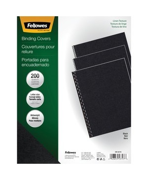 Fellowes 200PK BINDING COVERS EXPRESSION LINEN BLACK LETTER SIZE