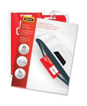 Fellowes GLOSSY POUCHES LUGGAGE TAG WITH LOOP 5 MIL 25PK