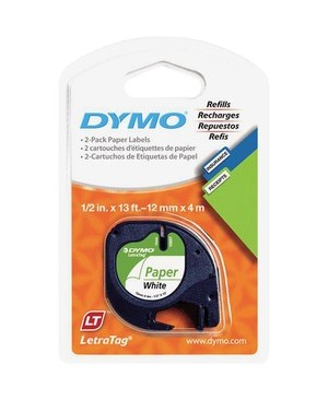 Dymo 1/2IN X 13FT.LETRATAG WHITE PAPER TAPE