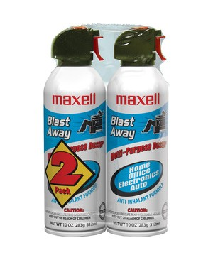 Maxell 2PK BLAST AWAY CANNED AIR 154A FORMULA MUST SHIP GROUND