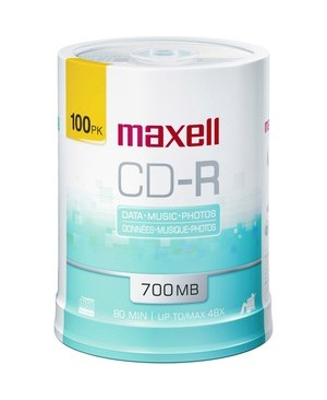 Maxell 100PK CDR PRINTABLE WHITE M 48X SPINDLE 700MB