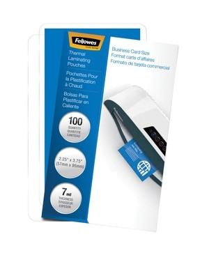 Fellowes GLOSSY POUCHES BUSINESS CARD 7 MIL 100PK