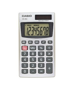 Casio-Computer HS-8VA BASIC 8-DIGIT SOLAR CALCULATOR LARGE EASY-TO-READ
