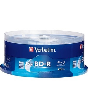 Verbatim Corporation 25PK BD-R 25GB 6X SPINDLE BLU-RAY RECORDABLE BRANDED DISC