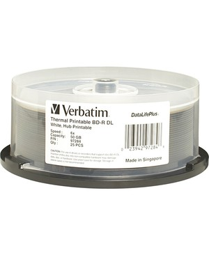 Verbatim Corporation 25PK BD-R DL 50GB 6X SPINDLE WHITE THERMAL EVEREST HUB PRINTABLE