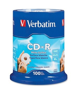 Verbatim Corporation 100PK CDR 52X 700MB 80MIN BLANK WHITE SURFACE NON-PRINTABLE SPINDLE