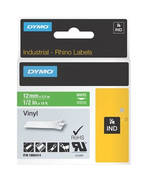 Dymo 1/2IN GREEN VINYL LABELS FOR RHINO 6500 6000 5200 5000 4200 3000