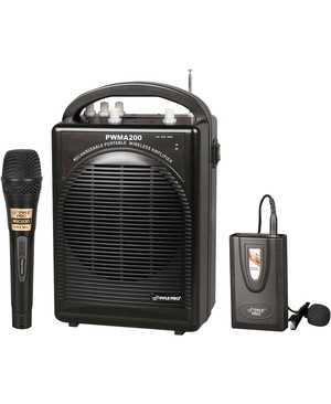 Pyle - Pro Sound RECHARGEABLE PORTABLE PA SYSTEM WITH WIRELESS LAVALIER/HEADSET MIC