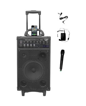 Pyle - Pro Sound 800 WATT DUAL CHANNEL WIRELESS RECHAGEABLE PORTABLE PA SYSTEM WITH