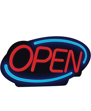 Royal Sovereign International OPEN SIGN BRIGHT LED LIGHTING CONTINUOUS FLASHING/SCROLLING FEAT