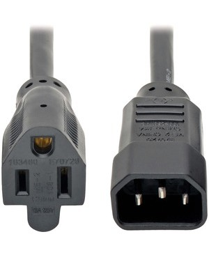 Tripp Lite 1FT POWER CORD ADAPTER 18AWG 10A 125V C14 TO 5-15R