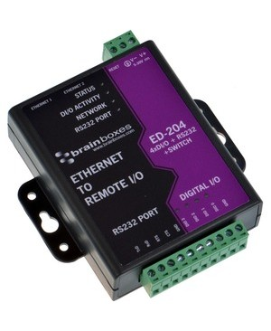 Brainboxes ETHERNET 4 DIO + RS232 + SWITCH 4 DIG IN OR OUT+1 RS232+2 ETHERNET