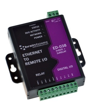 Brainboxes ETHERNET TO DIGITAL IO RELAY 3 INPUT 3 RELAY 1 & ETHERNET PORT