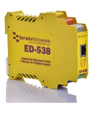 Brainboxes ETHERNET TO DIGITAL IO RELAY 8 DIGITAL INPUT & 4 FORM A RELAYS