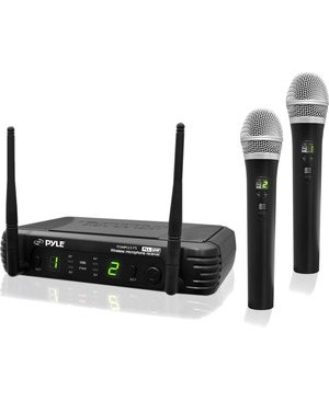 Pyle - Pro Sound 2CH PRO UHF WL HANDHELD MIC SYST W/ SELECTABLE FREQUENCIES