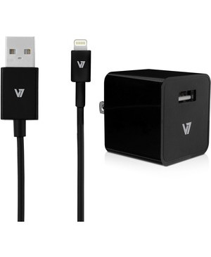 V7 Mobility Accessories 1PORT 2.4A USB WALLCHARGER IPAD AIR IPHONE W/ 1M LIGHTNING CABLE