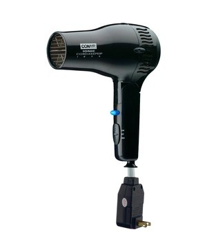 Conair Hospitality 1875W IONIC CORD  KEEPER HAIR DRYER W/ FOLDING HANDLE BLACK