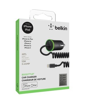 Belkin Mobile COIL MINI CAR CHARGER W/ 4WRD LIGHTNING CABL BLK RETAIL BOX