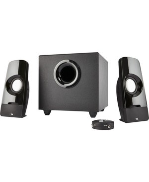 Cyber Acoustics 2.1 POWERED SPEAKER SYSTEM CURVE SERIES CONTROL POD SUBWOOFER