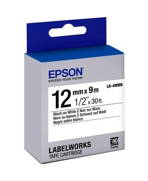 Epson - Open Printers And Ink LABEL WORKS LABELS STND BLK/WHT 12MM TAPE CART