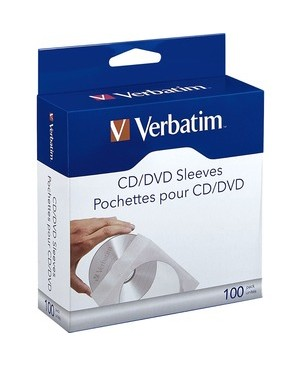 Verbatim Corporation 100PK CD/DVD PAPER SLEEVES WITH CLEAR WINDOW