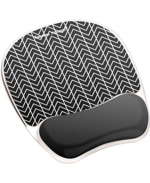 Fellowes PHOTO GEL MOUSE PAD WRIST REST WITH MICROBAN BLACK CHEVRON