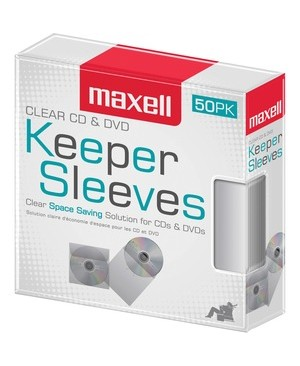 Maxell 50PK CD-KEEPCL CLEAR PLASTIC SLEEVES FOR CD/DVD