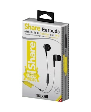 Maxell SHA-2G SHARE EARBUD GRAY W/MIC BUILT IN SPLITTER TO SHARE MUSIC