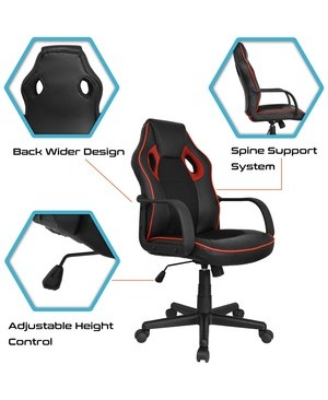 Worryfree Gadgets GAMING OFFICE CHAIR- BACK REST ADJUSTABLE ERGONOMIC DESIGN