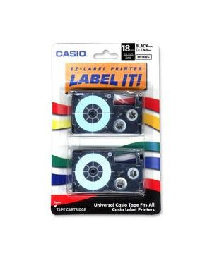 Casio-Computer 2PK  LABEL PRINTER TAPE 18MM 3/4IN BLACK ON CLEAR