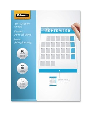 Fellowes SELF ADHESIVE LAMINATING SHEETS LETTER 3MIL 10PK
