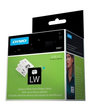 Dymo 30857 WHITE NAME BADGE ADHESIVE W/CLIP HOLE 250 LABELS ON 1 ROLL