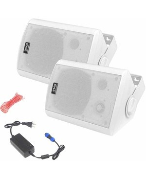 Pyle Audio - Home BT 5.25IN IN/OUTDOOR SPKR SYS WALL MOUNT WATERPROOF WHITE