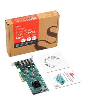 SIIG 4 Port SuperSpeed USB 3.0 PCIe Card - Quad Core - PCI Express 2.0 x4 - Plug-in Card - 4 USB Port(s) - 4 USB 3.0 Port(s) - UASP Support - PC WITH UASP PCM ONLY
