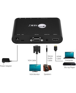 SIIG HDMI to VGA & Audio Scaler Converter - Functions: Video Scaling, Signal Conversion - 1920 x 1080 - VGA - USB - Audio Line Out - Wall Mountable - TAA Compliant CNVTR HDMI TO ANALOG PC VIDEO VGA