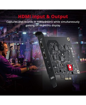 SIIG Live Game HDMI Capture PCIe Card - Functions: Video Capturing, Video Recording, Video Streaming, Audio Embedding, Audio Extraction - PCI Express 2.0 x1 - 1920 x 1080 - Audio Line In - Audio Line Out - PC - Plug-in Card - TAA Compliant