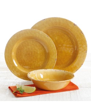Gibson Studio Mauna Crackle-Look Golden Yellow Melamine 12 pc DW Set