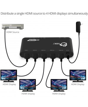 SIIG 1x4 HDMI 2.0 Splitter / Distribution Amplifier with Auto Video Scaling - 4K 60Hz HDR