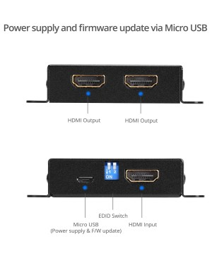 SIIG 2-Port HDMI 2.0 HDR Mini Splitter Amplifier with EDID Management