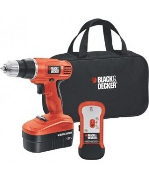 Black & Decker 18V Cordless Drill with Stud Sensor and Storage Bag