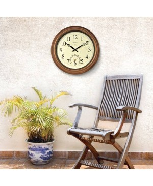 AcuRite 18-inch Atomic Metal Copper Outdoor Clock with Thermometer